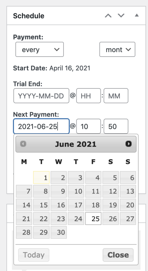 woocommerce subscriptions update next payment date